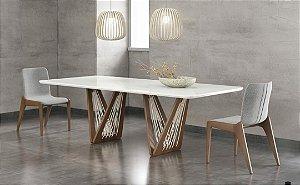 Mesa de jantar sd03- tram bru retangular (design moderno)