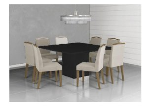 Mesa de Jantar Quadrada com 8 Cadeiras Laca Preta