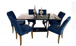 Cjt mesa de jantar sd03- nll lia + 6 cad maya