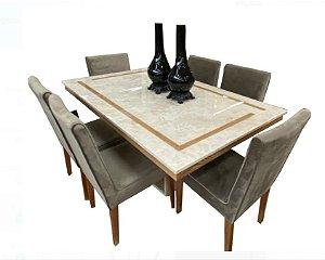 Cjt sala de jantar em  marmore com 6 cadeira