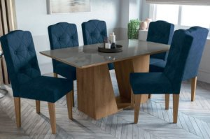 Mesa de jantar com 6 Cadeiras Blue