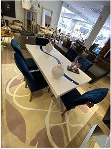Cjt mesa de jantar NILO 1,60 x 1,00  ( Resina na cor BEGE com a faixa AZUL )   ( Exclusivo cliente Vanuza)