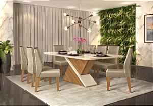 Mesa de Jantar de com 8 Cadeiras Troia