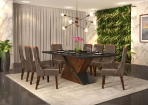 Mesa de Jantar de com 8 Cadeiras Coliseu
