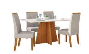 Conjunto de Mesa de Jantar Sensitive com 4 Cadeiras 1,40X0,90 MTS