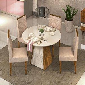 Conjunto de jantar 4 Cadeiras Redonda Xangai