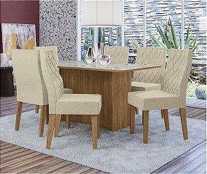 Cjt de Jantar Lexa com 6 Cadeiras com VIdro