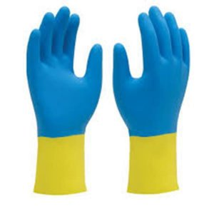 Luvas de Latex amarela e azul