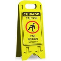 CAVALETE EM POLIETIRENO 20X53CM - ATENCAO - PISO MOLHADO PORTUGUES  .  INGLES