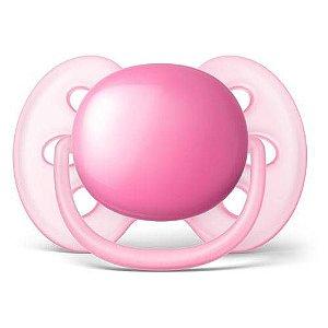 Chupeta Ultra Soft Rosa Lisa 0-6 Meses Avent Tamanho 1