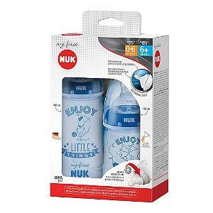Kit de Mamadeiras 150 ml e 300 ml My First NUK Azul Tamanho 1 0-6 meses e Tamanho 2 6+ meses