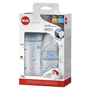 Kit com 2 Mamadeiras NUK Azul Tamanho 1 0-6 meses e Tamanho 2 6+ meses