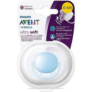 Chupeta Ultra Soft Azul Lisa 0-6 Meses Avent Tamanho 1