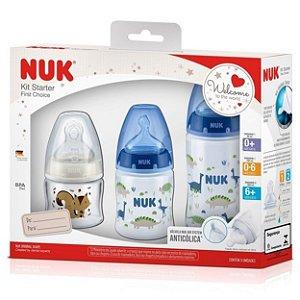 Kit 3 Mamadeiras Starter First Choice 90-150-300ml NUK Azul - Dinossauros e Raposa
