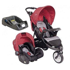 Carrinho de Bebe Bebe Conforto e Base Kiddo Fox Vermelho/Cinza