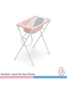 Banheira Bebê Plástica Acqua Trio - Rosa Perola - Galzerano