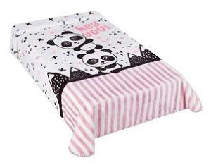 Cobertor Hipoalérgico Le Petit - Panda/Rosa - Colibri