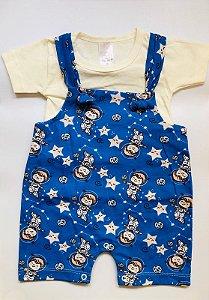 Jardineira Curta com Camiseta - Espaço Azul - Pimpinha