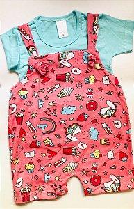 Jardineira Curta com Camiseta - Colorido - Pimpinha