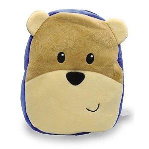 Mochila Infantil De Pelúcia - Urso Sibério Azul - Unik Toys