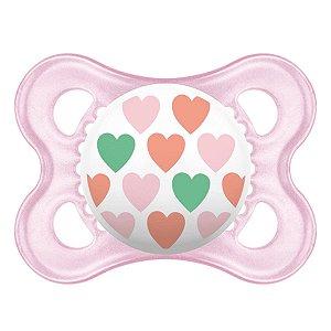 Chupeta Original Coleção Trends 0-6 m - Coração Rosa - MAM