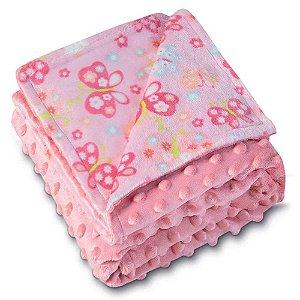 Manta Fleece Dupla Face - Coleção Mini - Rosa - Lepper