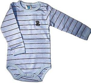 Body Manga Longa -  Azul Bebê Listrado - Pulla Bulla