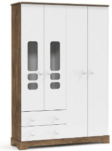 Guarda Roupa Smart 4 Portas - Branco Soft com Teka - Matic