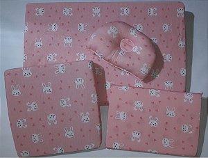 Kit com 4 Travesseiros Coelha - Rosa - Bambi