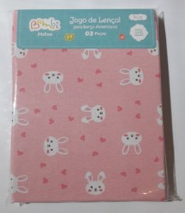 Jogo de Lençol 3 Peças Coelha - Rosa - Bambi
