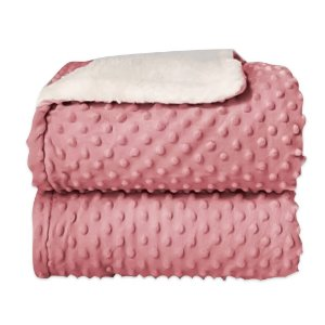 Cobertor Sherpam Dots - Rosa - Laço Bebê