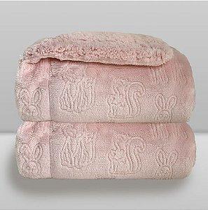 Cobertor Ferrete - Rosa Quartzo - Laço Bebê