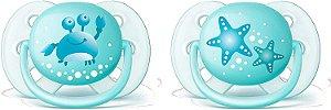 Chupeta Ultra Soft 0-6m 2 un - Azul - Philips Avent