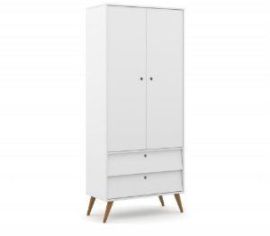 Guarda Roupa 2 Portas Gold Eco Wood - Branco Soft - Matic