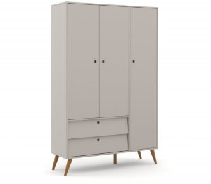 Guarda Roupa 3 Portas Gold Eco Wood - Cinza - Matic