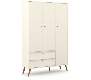 Guarda Roupa 3 Portas Gold Eco Wood - Off White - Matic