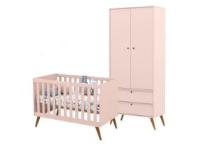 Guarda Roupa 2 Portas + Berço Gold Eco Wood - Rose - Matic