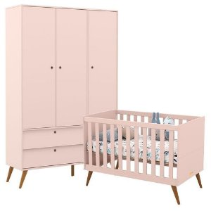 Guarda Roupa 3 Portas +  Berço Gold Eco Wood - Rose - Matic