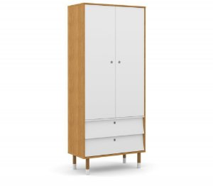 Guarda Roupa 2 Portas Up Eco Wood - Freijó/Branco Soft - Matic