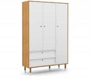 Guarda Roupa 3 Portas Up Eco Wood - Freijó/Branco Soft - Matic