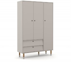 Guarda Roupa 3 Portas Up Eco Wood - Cinza - Matic