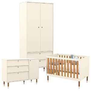Guarda Roupa 2 Portas + Cômoda + Berço Up Eco Wood - Off White/Freijó - Matic