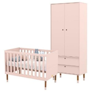 Guarda Roupa 2 Portas + Berço Up Eco Wood - Rose - Matic
