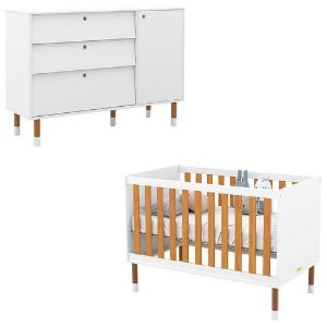 Cômoda + Berço Up Eco Wood - Branco Soft/Freijó - Matic
