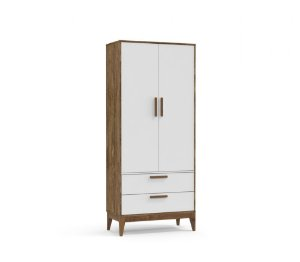 Guarda Roupa 2 Portas Nature Eco Wood - Branco Soft/Teka - Matic