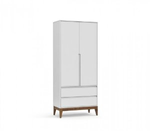Guarda Roupa 2 Portas Nature Clean Eco Wood - Branco Soft - Matic