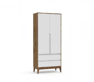 Guarda Roupa 2 Portas Nature Clean Eco Wood - Branco Soft/Teka - Matic