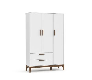 Guarda Roupa 3 Portas Nature Eco Wood - Branco Soft - Matic