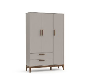 Guarda Roupa 3 Portas Nature Eco Wood - Cinza - Matic