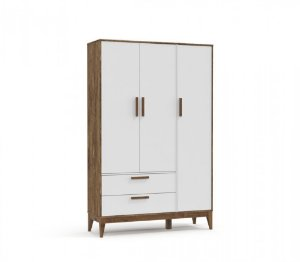 Guarda Roupa 3 Portas Nature Eco Wood - Branco Soft/Teka - Matic